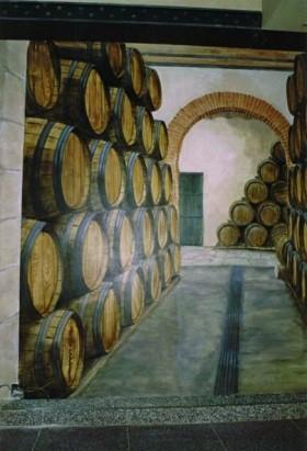 muurschildering wijnkelder