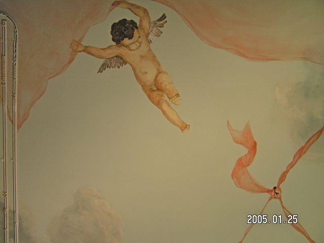 Engelen plafond schildering Zandvoort