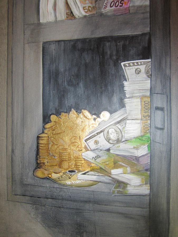 Trompe l`oeil van geldkluis op de W.C.