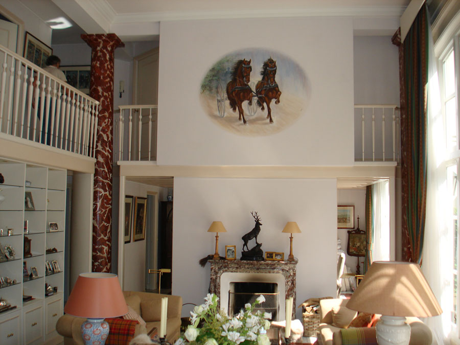 Muurschildering van dravende paarden het geheim van de smith - Decoratie van trappenhuis ...