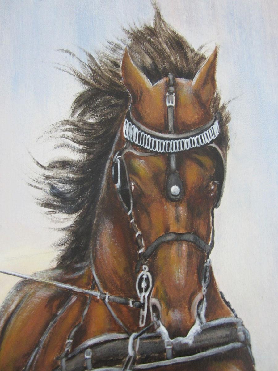Muurschildering van dravende paarden